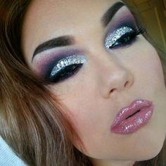 glitter eyeshadow purple smokey eye stripper makeup glam drag