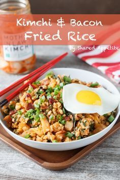 A quick, easy way to jazz up that boring old rice and get a whole lot more fun and flavorful...this Korean-inspired Kimchi and Bacon Fried Rice is perfect. #rice #kimchi