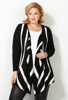 Intarsia Striped Flyaway Cardigan-Plus Size Cardigan-Avenue