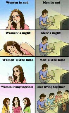 Nice men vs women in a nutshell men vs women, girl memes, funny comics, gam Stupid Funny, Funny Jokes, Hilarious, Funny Men, Boys Vs Girls, Men Vs Women, Bd Comics, Funny Comics, Man Vs