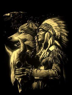 mystical wolf And Indian