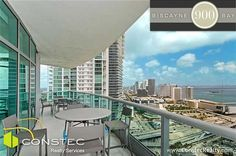 3 bedroom unit on the 38th floor of 900 Biscayne Bay in Downtown Miami: Balcony and Views