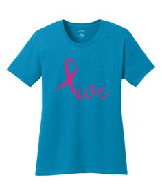This Neon Blue Ribbon 'Live' Tee is perfect! #zulilyfinds