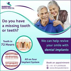 Restore your smile with dental implants that look, feel, and act like real teeth. If you are looking for the most effective dental solutions, then visit Shreyas Dental Hospital or call us at +91-9712994608 to book an appointment!  #dentalimplant #ahmedabad #TeethIn72Hours #InstantDentalImplants