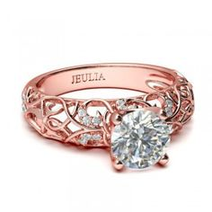 Rose Gold Vines Round Cut 1.9CT Created White Sapphire Rhodium Plated 925 Sterling Silver Women's Engagement  Ring  - #jeulia - #Coupons - #sale