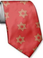 Star of David red and gold tie
