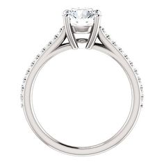 1.25 ct FB Moissanite Round 7mm 14K White Gold by GNGJewel