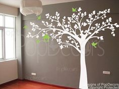 """Nursery tree decal kids tree decal playroom vinyl decal nature design- Big tree with love birds(88"""" W) -Designed by Pop Decors on Etsy, $56.00"""