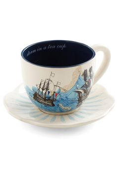 Honor liked this tea cup.Swell Mornings Mug by Disaster Designs - Blue, Nautical, White, Multi, Novelty Print I Love Coffee, My Coffee, Coffee Cups, Tea Cups, Coffee Latte, Storm In A Teacup, Disaster Designs, My Cup Of Tea, Cute Mugs