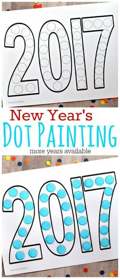 This dot painting activity is a fun way to involve kids in the New Year festivities. Free Printable   Do a Dot   New Year's Eve   Year activity