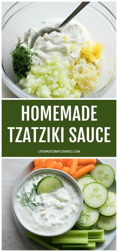 Delicious, flavorful and simple Tzatziki sauce that takes minutes to make and is great served as a dip, dressing or sauce for veggies, pita bread, meat or salads.#tzatzikisauce #Greekrecipes #homemadetzatzikisauce #tzatziki #greekfood Yummy Appetizers, Appetizer Recipes, Dinner Recipes, Dinner Ideas, Dessert Recipes, Desserts, Homemade Tzatziki Sauce, Homemade Sauce, Cooking Recipes