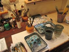 V Claff's studio - work table