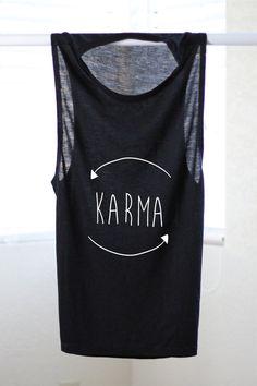 Karma Flowy Muscle Tank  Yoga Shirt  Flowy tank  by ArimaDesigns