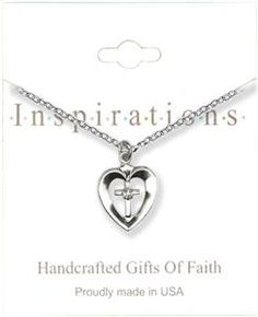Silver Heart With Cross And Crystal Necklace
