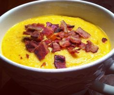 A warm, creamy, and hearty soup; perfect for fall. A hint of cayenne pepper adds heat to a sweet-savory butternut squash soup with warm flavors. Top it with crispy bacon!