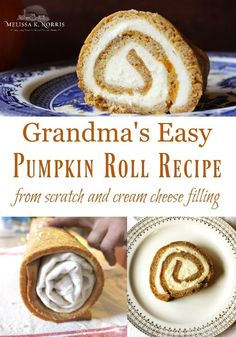 Pumpkin Roll Recipe from Grandma with Fresh Pumpkin - Food RecipesPumpkin Roll Recipe from Grandma with Fresh or canned pumpkin, easy tutorial and recipe for old-fashioned pumpkin roll, you can even bake and freeze these ahead of time! Fresh Pumpkin Recipes, Canned Pumpkin, Pumpkin Puree, Pumpkin Spice, Pumpkin Dishes, Pumpkin Carving, Cream Cheese Recipes, Cream Cheese Filling, Pumpkin Roll Recipe From Scratch