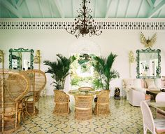 The lobby and reception area of the Dominican Republic's Playa Grande Beach Club, designed by Celerie Kemble of Kemble Interiors Indian Home Decor, Moroccan Decor, Wicker Furniture, Modern Furniture, Beach Club, Cheap Home Decor, Home Decor Accessories, Country Decor, Home Remodeling