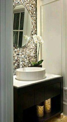 modern bathroom backsplash. Love Thick Small Bathroom Backsplash Idea With White Cabinetry Modern R