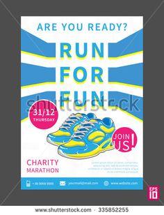 Vector Charity Marathon flyer template with slogan Run For Fun. Business illustration.