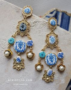 Portugal Antique Azulejo Tile Replica Tile Mural Earrings by Atrio