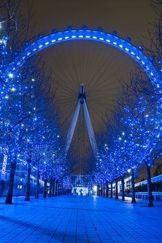 Blue nights, London, England (by Jonathan.Russell). ~ I would loveee to go here. Someone please take me :)