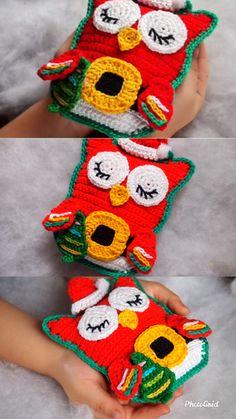 crochet Christmas owl Banyo – home accessories Crochet Gifts, Crochet Baby, Free Crochet, Knit Crochet, Knitted Owl, Crochet Owls, Crochet Toys Patterns, Amigurumi Patterns, Baby Knitting Patterns Free Cardigan
