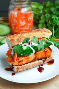 Chili Caramel Salmon Banh Mi with Pickled Daikon and Carrots, Cucumber and Jalapeno Mayonnaise