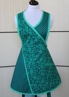 Fun Flirty Navy Blue and Aqua color cotton Apron. Created by MitzieAprons4u and listed on Etsy.com.SOLD