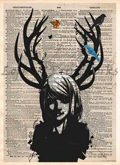 Girl with antlers, Deer girl art print, Dark fae, dictionary page art print…