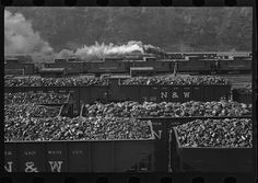 ben shahn wv pictures | Williamson, West Virginia. A railroad yard with cars loaded with coal.