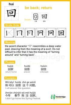 "Hanbridge Mandarin Study Card--Chinese character ""回"", the common phrase is ""回答"" (answer)"