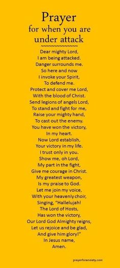 Prayer for when you are under attack by liliana