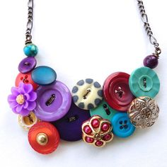 Funky Flowers Chunky Multicolor Vintage Button Necklace by buttonsoupjewelry, $35.00