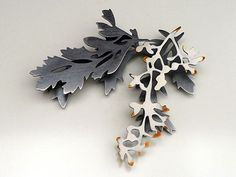 Helen Shirk, Brooch, White Trace, 2009, Sterling, china paint, patina