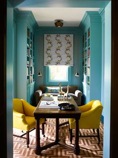 Love the furniture placement of this small room, maybe make good use of my empty unused formal living room as a home office! Style At Home, Home Office, Aqua Office, Small Office, Office Nook, Br House, Cool Color Palette, Color Mix, Colour Combo