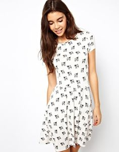 ASOS Skater Dress With Pug Print