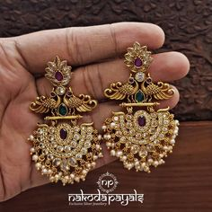Shop Ultimate Gold Plated Pure Silver Earrings Collections Here! Indian Jewelry Earrings, Gold Bridal Earrings, Indian Jewelry Sets, Silver Jewelry Box, Silver Jewellery Indian, Fancy Jewellery, Jewelry Design Earrings, Gold Earrings Designs, Silver Earrings