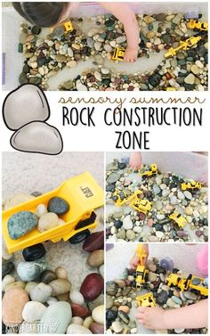 10 Ways to Play With Rocks {Sensory Summer} - Construction Zone! This is the perfect outdoor activity for summer tot school, preschool, or kindergarten!