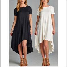 🆕LYA hi low flowy dress - IVORY HIGH LOW HEM JERSEY DRESS 96% RAYON 4% SPAN MADE IN USA. 3 colors: IVORY, BLACK & ROYAL BLUE 🚨 PRICE FIRM🚨 Bellanblue Dresses