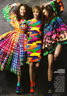 Rainbow fashion - Linda Jackson ( VIP Fashion Australia www. - international clothing store ) Love the bright colors Foto Fashion, 80s Fashion, Fashion Prints, High Fashion, Vintage Fashion, Fashion Design, Vintage Clothing, Fashion Ideas, Crazy Fashion