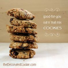 (mostly) healthy oat and trail mix cookies, great for breakfast, an afternoon snack, or dessert (oat bars packaging) Best Cookie Recipes, Best Dessert Recipes, Healthy Desserts, Breakfast Recipes, Healthy Cookies, Trail Mix Cookies, Gluten Free Deserts, Breakfast Cookies, Afternoon Snacks