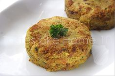 Baked Chickpea Cakes: 1 can/2 c. cooked chickpeas, 1/2 c. chop.onion, 1/2 c.shredded carrot, 1/3 c. seasoned bread crumb, 1/4 c. Italian salad dressing, egg. DO: Heat to 375°. Spray baking sheet. Mash chickpeas coarsely. Stir carrots, onion, bread, dressing, egg. Mix well. Shape small patties using about 2 T. Bake 15 to 18 minutes, turning halfway through baking time until lightly browned on both sides.