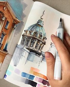 "Marker painting sketch city cityscape ciudad 240 Likes, 6 Comments - Olga (@tomshinskaya) on Instagram: ""Солнца очень не хватаетс архитектурой я очень на ""Вы"", но не могла не удержаться и не…"""