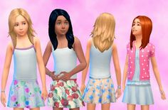 My Sims 4 Blog: Skirts and Long Wavy Pulled Back Hair for Girls by...