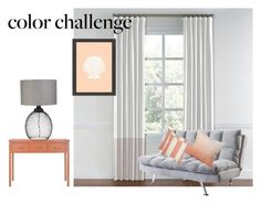"""""""color challenge: gray & peach"""" by martisnack ❤ liked on Polyvore featuring interior, interiors, interior design, home, home decor, interior decorating, Coaster, Safavieh, Dot & Bo and Americanflat"""