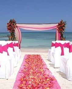 Pink Beach Wedding ideas sooo goin to be my wedding(: Wedding Ceremony Ideas, Beach Ceremony, Beach Wedding Decorations, Beach Weddings, Wedding Arches, Wedding Beach, Coral Weddings, Destination Weddings, Wedding Reception