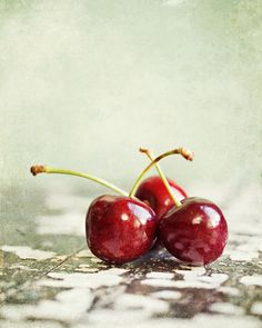 Three Cherries Photograph by Lisa Russo - Three Cherries Fine Art Prints and Posters for Sale