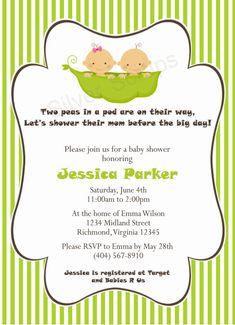 Two Peas in a Pod - Custom Baby Shower Invitation - Unisex Twins - Bright Green, Pea Pod - 5 Designs (Printable)