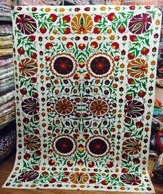 Suzani bedspread suzani embroidery cotton uzbek suzani embroidery tapestry quilt #Handmade #Traditional