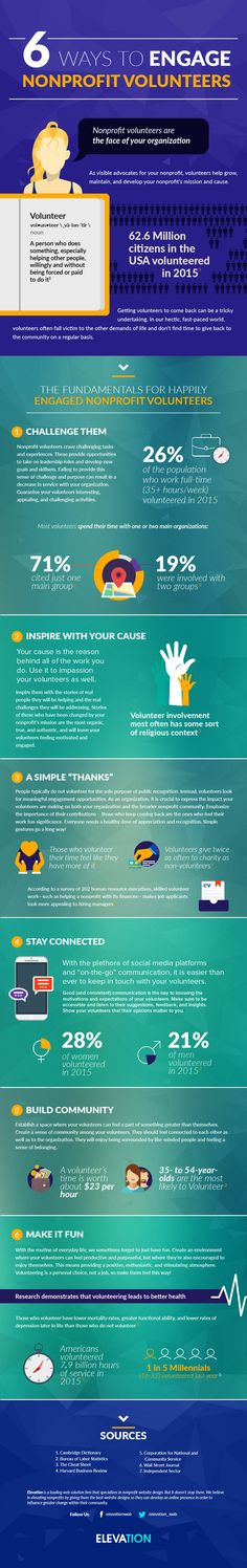 6 Ways to Engage Nonprofit Volunteers #infographic #Business